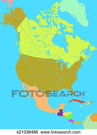 Political map of North America Clip Art   k21038486   Fotosearch