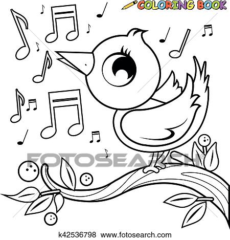 Singing Bird On A Branch Black And White Coloring Page Clip Art K42536798 Fotosearch