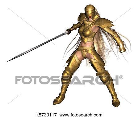 金 女性 ファンタジー 戦士 3 イラスト K5730117 Fotosearch