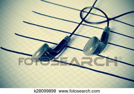 Fotos Audífonos En Un Personal Simulación Notas Musicales