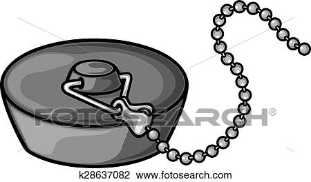 Bathroom Plug With Chain Clipart K28637082 Fotosearch