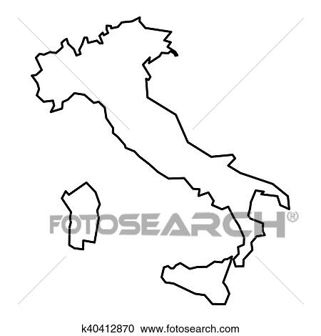 Map Of Italy Simple.Black Contour Map Of Italy Clipart