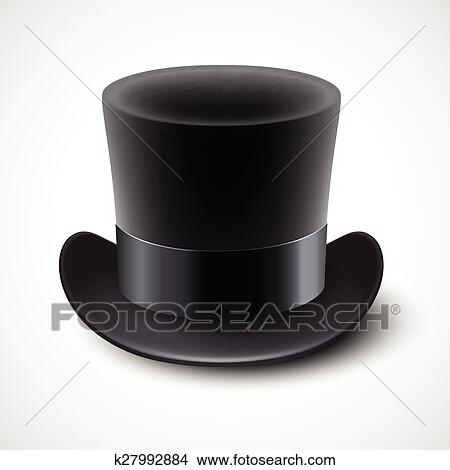 ebb1277b2 Black top hat vector illustration isolated on white background Clipart