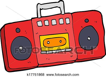 clip art of cartoon radio cassette player k17751868 search clipart rh fotosearch com