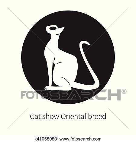 Oriental Shorthair Cat Isolated Flat Logo Domestic With Large Ears And Eye Black Silhouette Eastern Egyptian Elegant Circle Badge Label