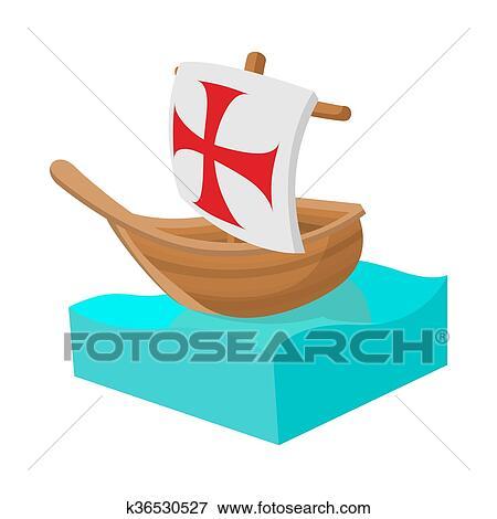 Columbus Barco Icono En Caricatura Estilo Colección De