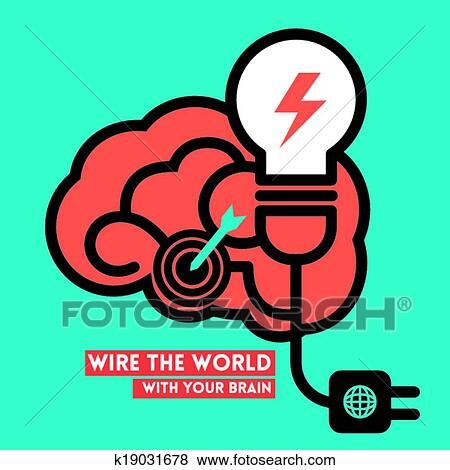 Clip Art Of Creative Brain Light Bulb Power Concept Vector