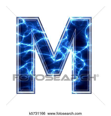 Electric 3d letter isolated on a white background - m