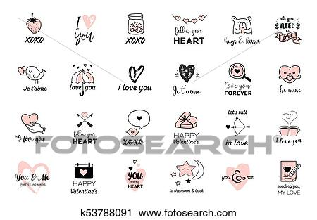 Clipart Of Love Doodles Hand Drawn Illustrations And Quotes