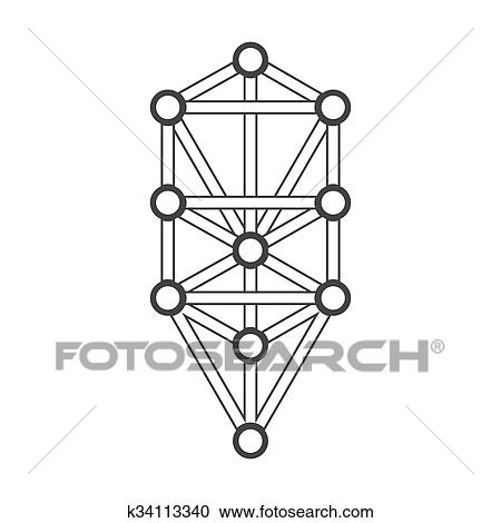 Clipart Of Monochrome Outline Sacred Tree Of Life Diagram