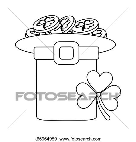 Sao Patricks Desenhos Animados Em Preto Branco Clipart