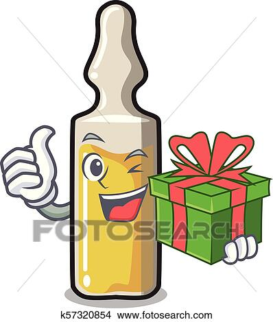 With Gift Ampoule Mascot Cartoon Style Clipart K57320854 Fotosearch
