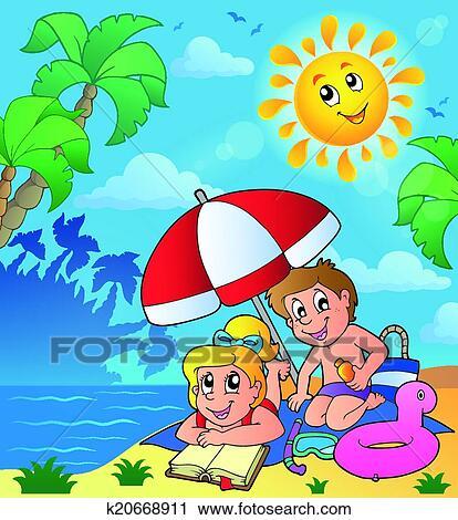 Klipart Yaz Tema Ile çocuklar üstünde Plaj K20668911