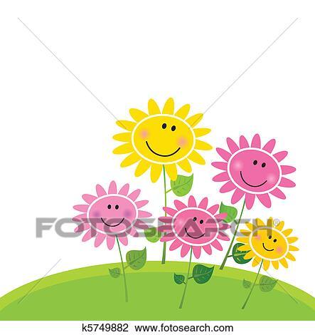 幸せ 春の花 庭 クリップアート切り張りイラスト絵画集