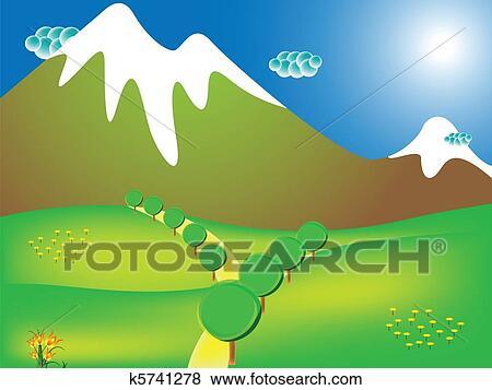 道 へ 山 イラスト K5741278 Fotosearch