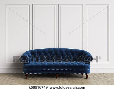 Classic Tufted Sofa In Classic Interior With Copy Space Stock