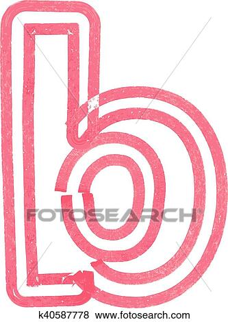 Clip Art Of Lowercase Letter B Drawing With Red Marker K40587778
