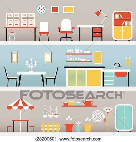 Clipart - muebles, en, oficina, cocina, al aire libre k28200601 ...