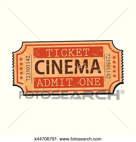 Clipart Of One Retro Style Vintage Cinema Movie Ticket K44706791