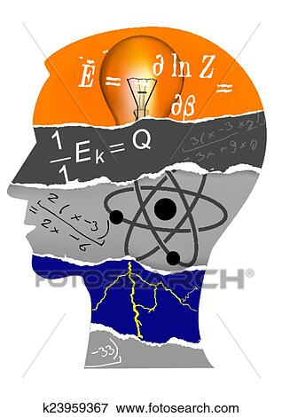 clip art of physics student head silhouette k23959367 search rh fotosearch com physics clipart logo physics clip art free