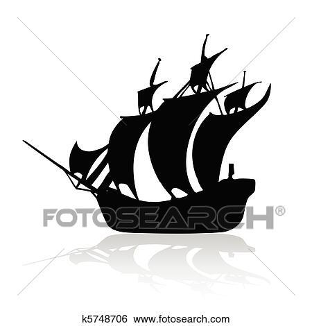 Clipart Pirate Bateau Noir Blanc Backroun K5748706