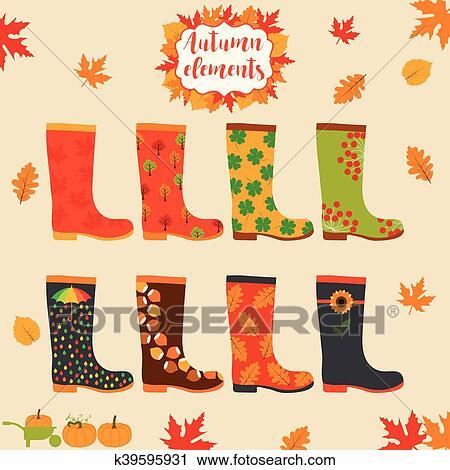 Clipart of rain boot rubber boots autumn elements creative design rain boot rubber boots wellington rain boots set autumn elements creative rubber boots design template maxwellsz