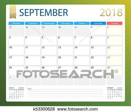 Calendario De Semanas.Septiembre 2018 Ilustracion Vector Calendario O Escritorio Planificador Semanas Comienzo En Lunes Clip Art