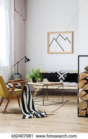 Archivio fotografico - soggiorno, con, divano, e, poltrona k52407081 ...
