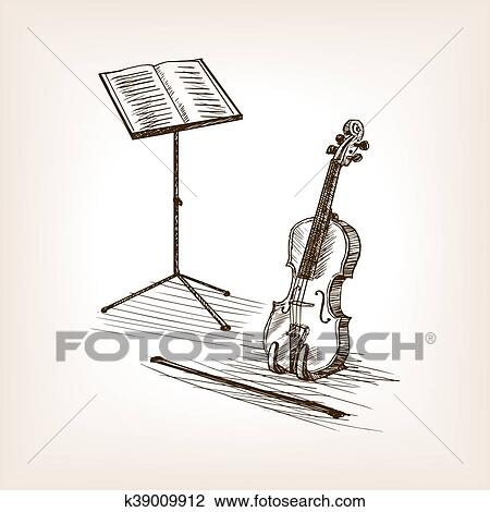 Clipart Of Violin Bow Music Stand Hand Drawn Sketch Vector K39009912