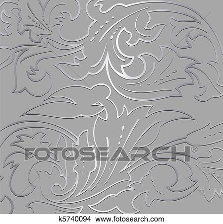 Wallpaper Silver Floral Background Vector Clipart