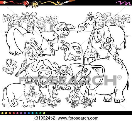 Clipart - animales safari, libro colorear k31932452 - Buscar Clip ...