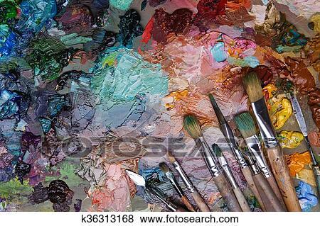 Colori Vernici Legno : Immagini artisti spazzole e olio vernici su legno tavolozza