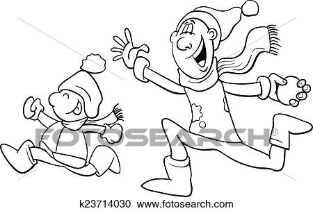 Clipart of dad and son on winter coloring book k23714030 - Search ...