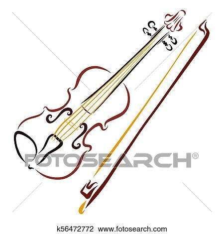 Elegante Violino E Arco Desenho Com Fluir Linhas Desenho
