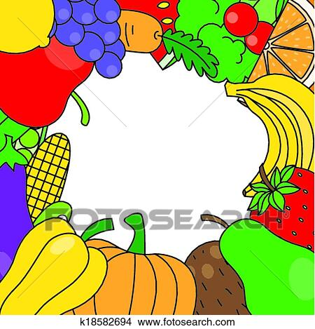 clipart fruits l gumes cadre k18582694 recherchez des clip arts des illustrations des. Black Bedroom Furniture Sets. Home Design Ideas