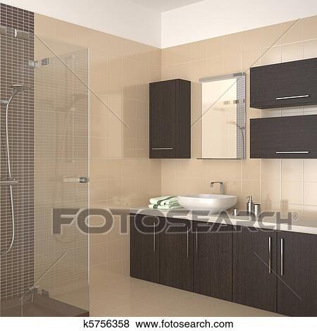 archivio illustrazioni - moderno, beige, bagno k5756358 - cerca ... - Bagni Moderni Beige E Marrone