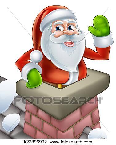 Clipart Santa Dans Cheminee Noel Dessin Anime K22896992