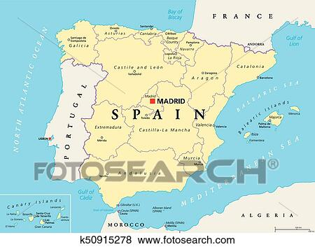 Map Of Spain Political.Spain Political And Administrative Divisions Map Clip Art