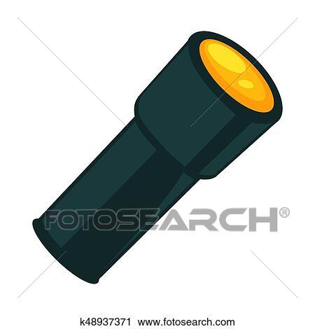 Taschenlampe, in, dunkle farbe, freigestellt, weiß, vektor ...