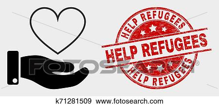 Vector Heart Donation Hand Icon and Grunge Help Refugees ...