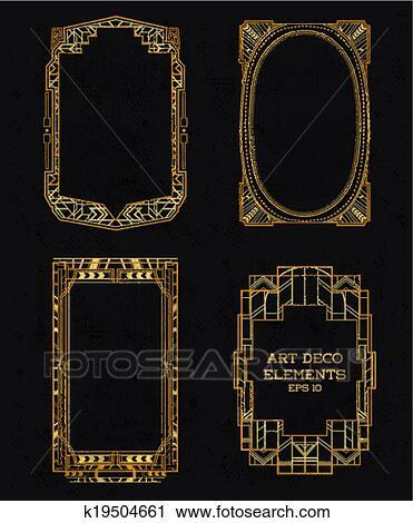 Art Deco Vintage Frames And Design Elements In Vector
