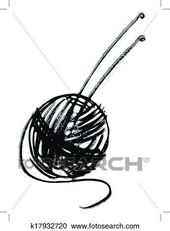 ball of yarn and knitting needles clipart k17932720