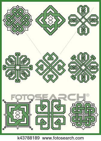 Celtique, interminable, décoratif, nœuds, sélection, dans, noir, vert,  croix, point, modèle, inspiré, par, irlandais, jour rue patrick, et,