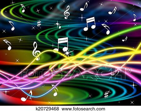 Colección de ilustraciones - color, notas, representa, música hoja ...