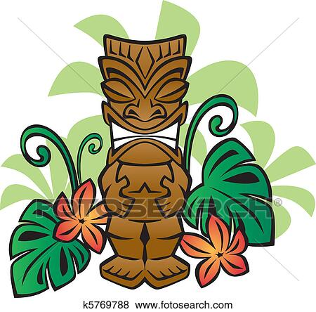 clip art of exotic tiki god k5769788 search clipart illustration rh fotosearch com tiki mask clipart tiki clipart vector