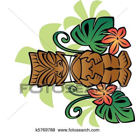 clip art of exotic tiki god k5769788 search clipart illustration rh fotosearch com tiki clip art free downloads tiki clip art free downloads