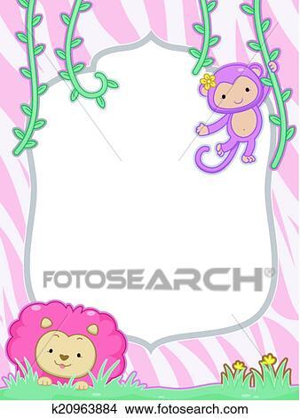 Clipart of Feminine Safari Frame k20963884 - Search Clip Art ...