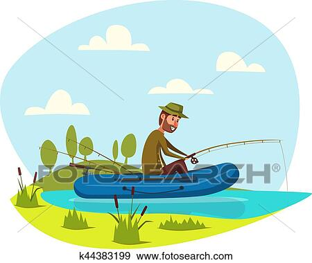 Fisher Man Fishing On Boat With Fish Rod Vector Clip Art K44383199 Fotosearch