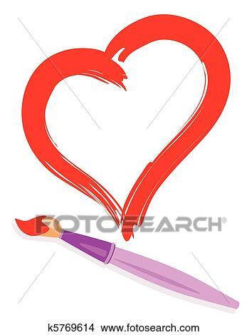 Clipart Pinsel Und Malen Herz K5769614 Suche Clip Art