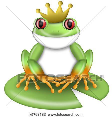Grenouille Couronne clipart - rouge-regardé, grenouille verte arbre, prince, à, couronne